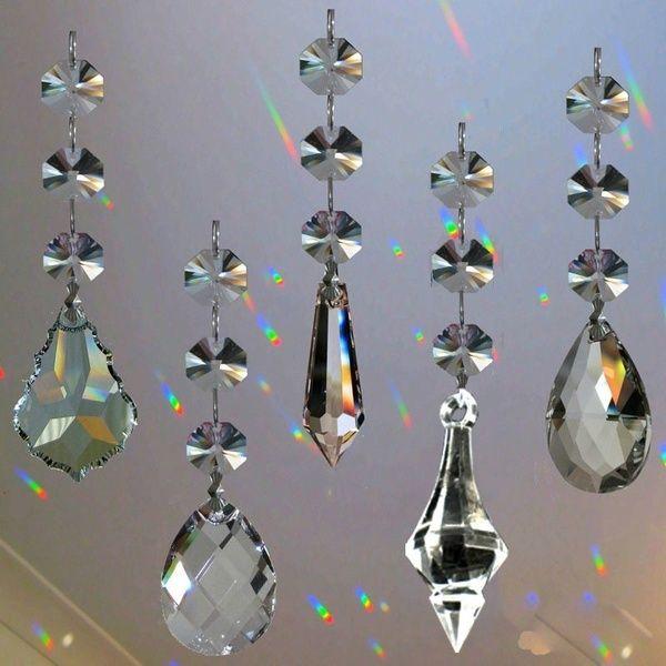 4pcs Practical Portable Durable Gift Decorations Curtain Pendants Wedding Hanging Crystal Rainbow Prism Garland Strand Transparent Acrylic Wish Hanging Crystals Chandelier Diy Crystal Crystal Suncatchers