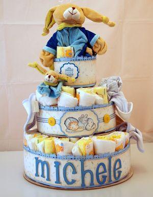 torta di pannolini da regalare per un battesimo #idee #regalo #battesimo #idea #torta #pannolini