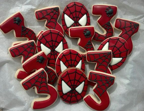 Spider Man Super Hero Birthday Custom Decorated Sugar Cookies on Etsy, $33.00