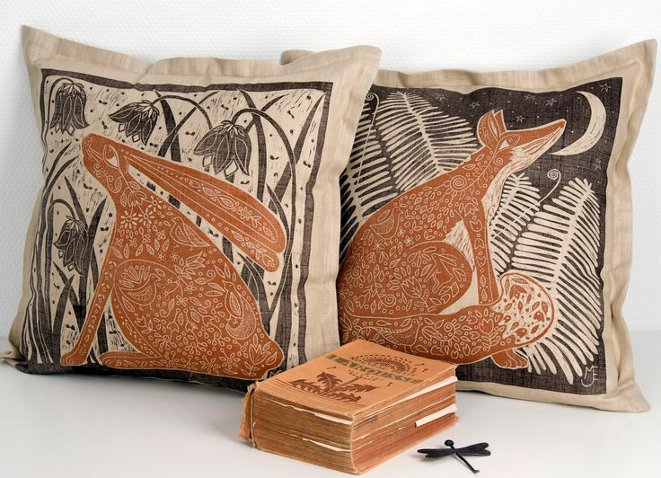 linocut,set of 2, cushion covers, hand printed, decorative pillow, Fox, Hare, chocolte brown, russet, scandinavian design, home interior, by linocutheaven on Etsy