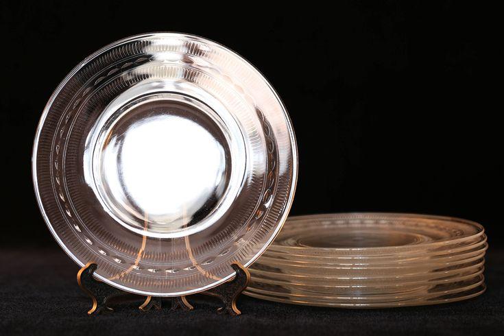 Vintage Glass Dessert Plates, 8 Cut Glass Dessert Plates, Clear Cut Glass Luncheon Plate, Mid Century Clear Luncheon Plate Set, Clear Plates