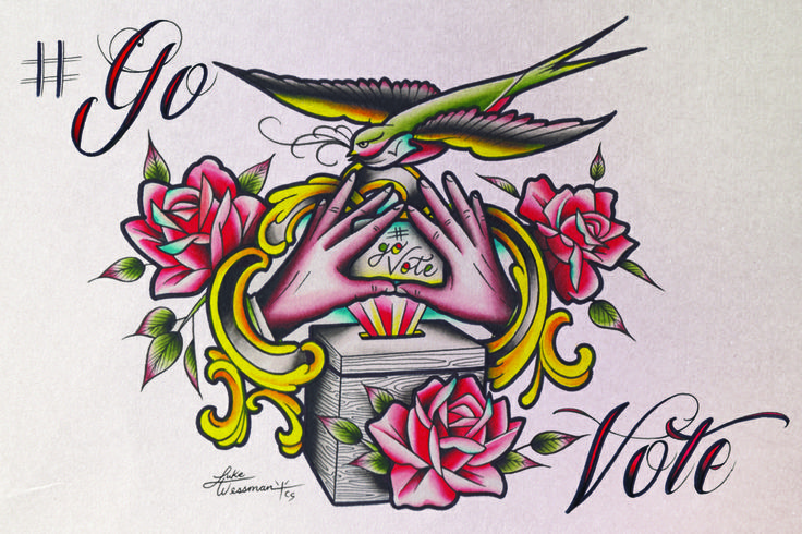 GoVote On the run ! tattoo artist Luke Wessman And Headcount Team with Beyonce and Jay z tour