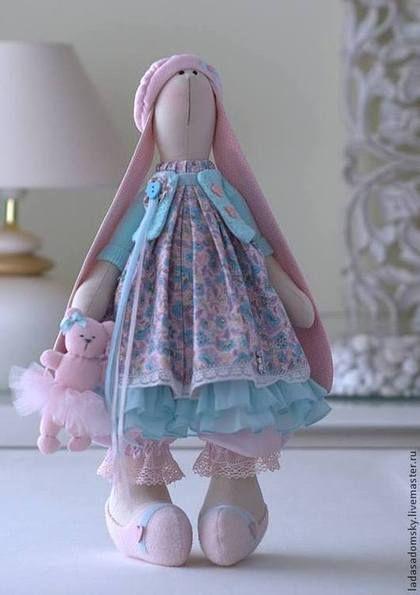 Зайка Ameli с медвежонком - 39 см - бледно-розовый,зайка девочка,зайка игрушка