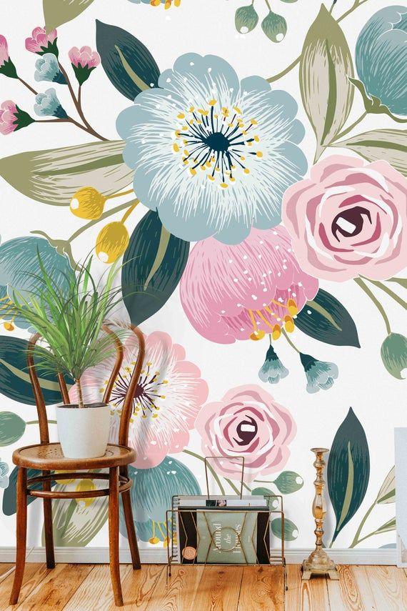Floral Illustration Pattern Mural Removable Self Adhesive Etsy Blue Flower Wallpaper Mural Floral Illustration Pattern