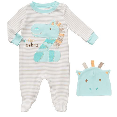 "Koala Baby Neutral 2 Piece White/Aqua Z is for Zebra Layette Set with Striped Footie and Hat - Babies R Us - Babies ""R"" Us"