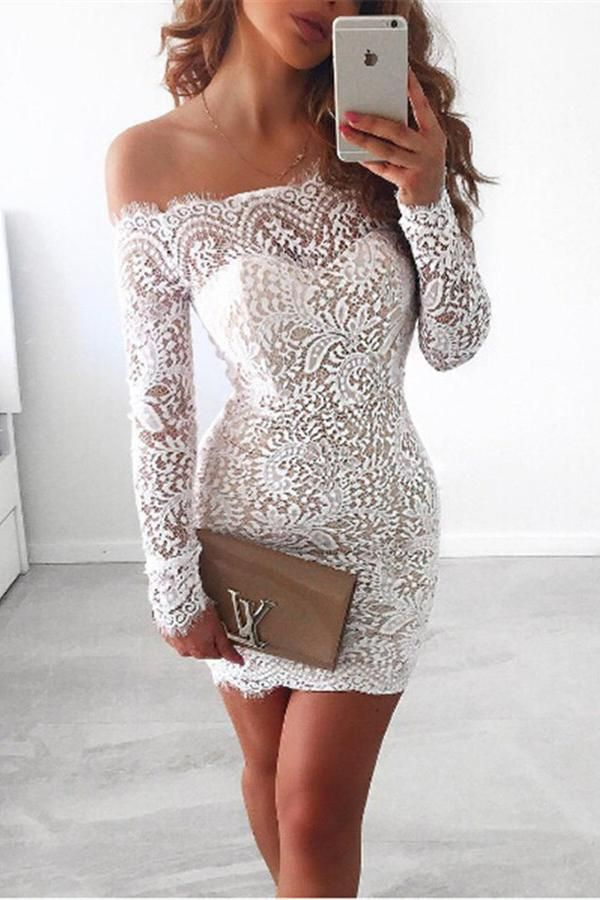 White Long Sleeve Sexy Cocktail Dresses