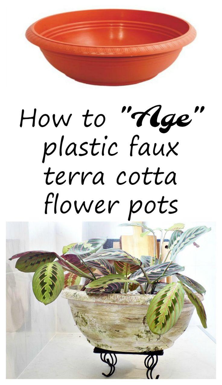 How-to-age-plastic-faux-terracotta-flower-pots