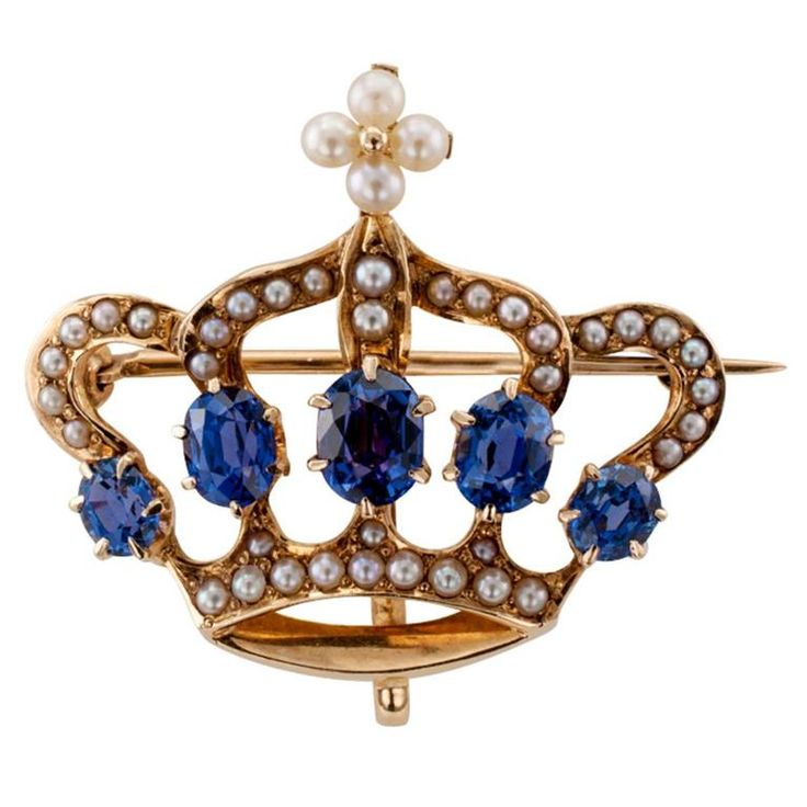 1900s Crown Brooch of Seed Pearls and Sapphires | From a unique collection of vintage brooches at https://www.1stdibs.com/jewelry/brooches/brooches/