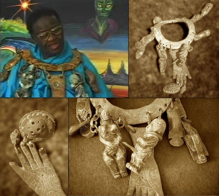Credo Mutawa, as a Zulu Shaman, received the necklace of his people, telling the story of their creation:Each section tells a different part of their history. The reptilian extra-terrestrial having sexual intercourse with a human female is clearly represented by the interlocking figurines. Another interesting object attached to his necklace is the representation of a flying saucer (more commonly known as an UFO to you humans)  #ufo #aliens #ET
