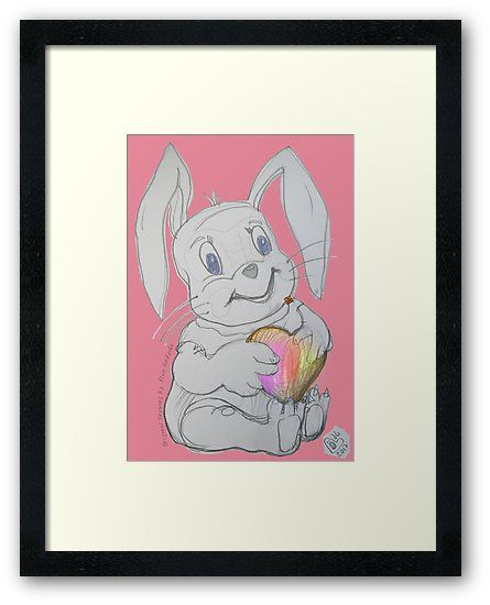 """Loving Habit Rabbit  (Original Art Drawing by Alice Iordache) / """"Loving Habit Rabbit"""" art drawing is one my drawings created using black pencil on paper with a touch of digital enhancement. My work is also hand signed (to ensure authenticity for those who buy). I love drawing lovable creatures and I hope you will love to have one of them in your home. / Lovable creatures are so special and beautiful, each one of us should be nurtured by one. • Also buy this artwo..."""