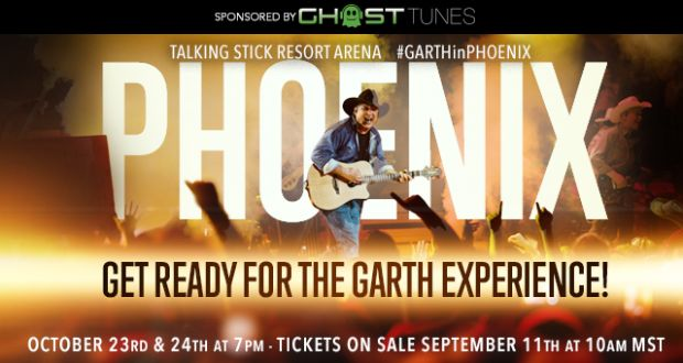 #GARTHinPHOENIX at Talking Stick Resort Arena  October 23rd and 24th at 7pm!  Tickets on sale September 11th at 10am MST!  http://www.usairwayscenter.com/events/detail/garth-brooks
