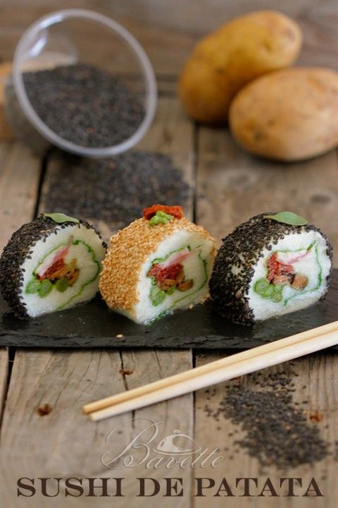 Sushi de patata con setas, tomate seco y espárrgos verdes