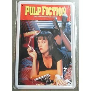 plaque publicitaire 30cm pin up sexy pul fiction film culte déco garage loft  affiche tole metal
