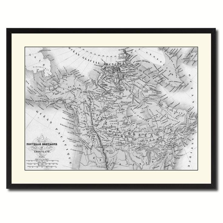 Canada Alaska Vintage B&W Map Canvas Print, Picture Frame Home Decor Wall Art Gift Ideas