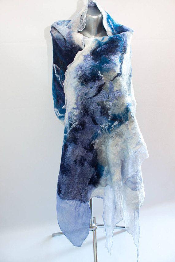 Felted Scarf Silk Felt Wrap Felted Shawl Wedding Wrap Nuno #feltUA   #nunofelt #Vinokurova