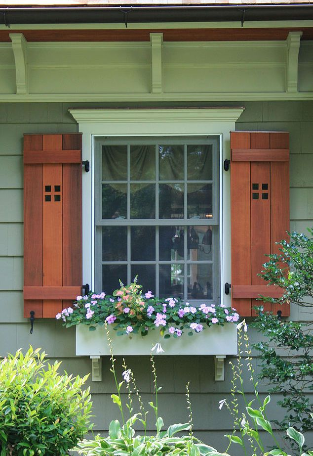 20 best exterior shutters images on pinterest exterior for Craftsman style window boxes