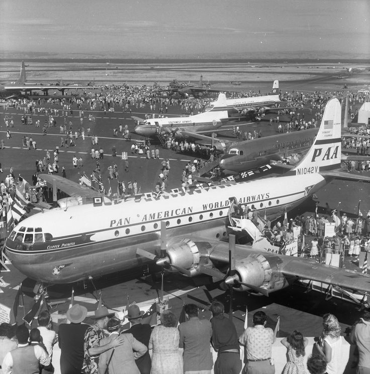 Pan American World Airways Boeing 377 Stratocruiser at San Francisco International Airport (SFO), dedication events for new Terminal Building, 1954   flysfo.com