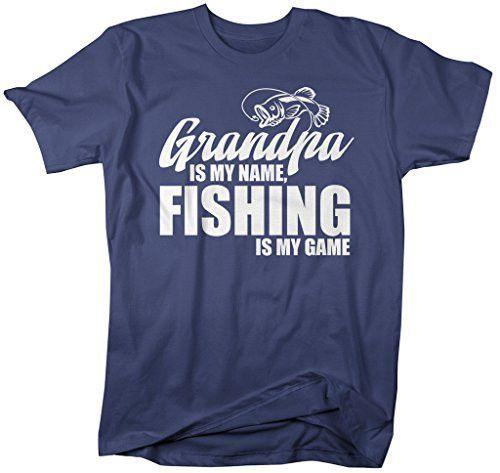 Shirts By Sarah Men's Funny Fishing T-Shirt Grandpa Is My Name Fishing Is My Game Shirt