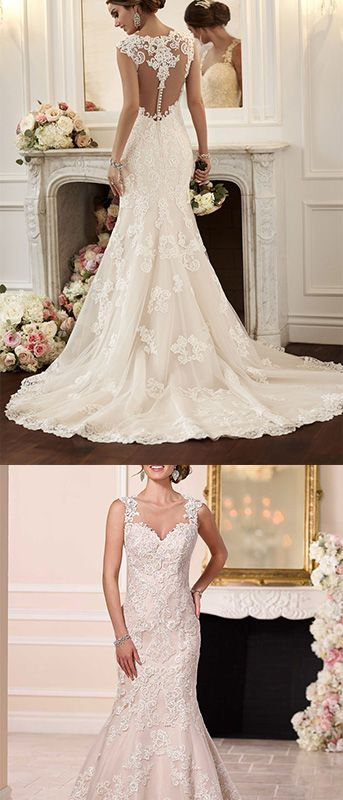 2018 Scoop Sirena Vestidos de Novia Tulle con Applique Sweetheart Wedding  Dress 3a4f5737c585