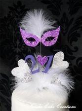 masquerade cake toppers | ... Masquarade Mask Cake Topper - Birthday Anniversary Cake Decorations