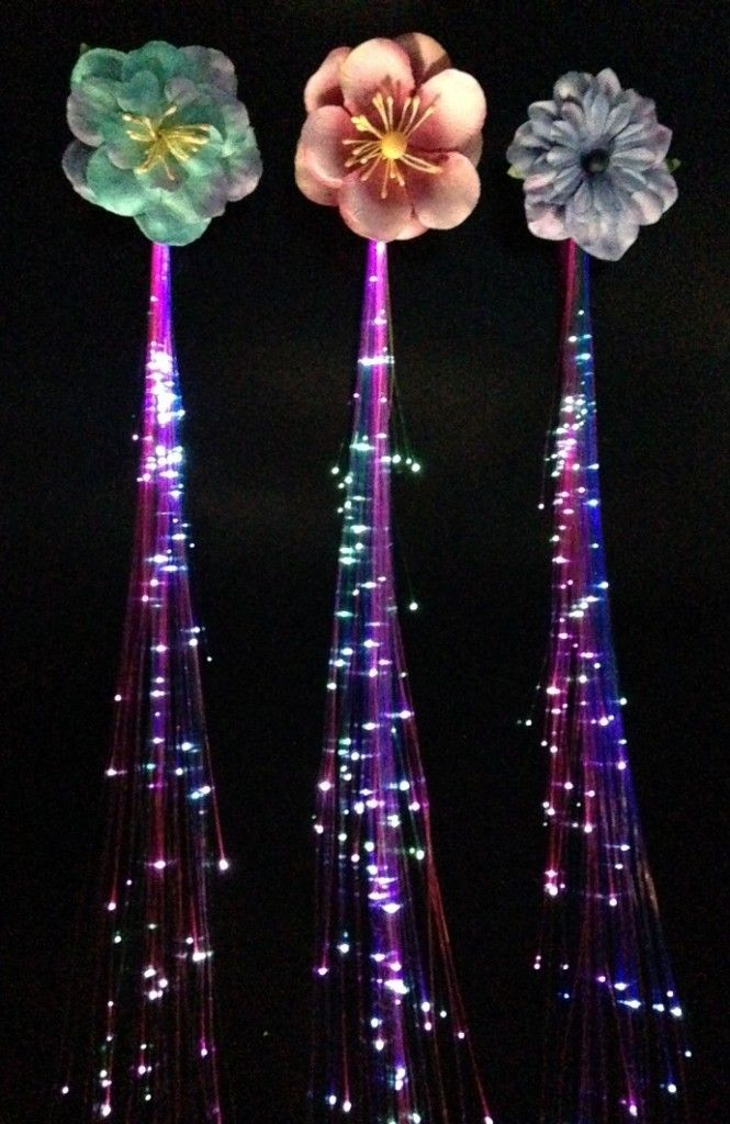 Fiber optic hair lights hot glue decorative appliqus on top of fiber optic hair lights hot glue decorative appliqus on top of the plain black clip easy peasy pretty paper flowers came from michaels craft s pmusecretfo Images