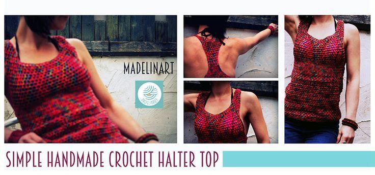 CROCHET HALTER TOP/ dzianinowy top bez rękawów  - MadelinART - Topy damskie