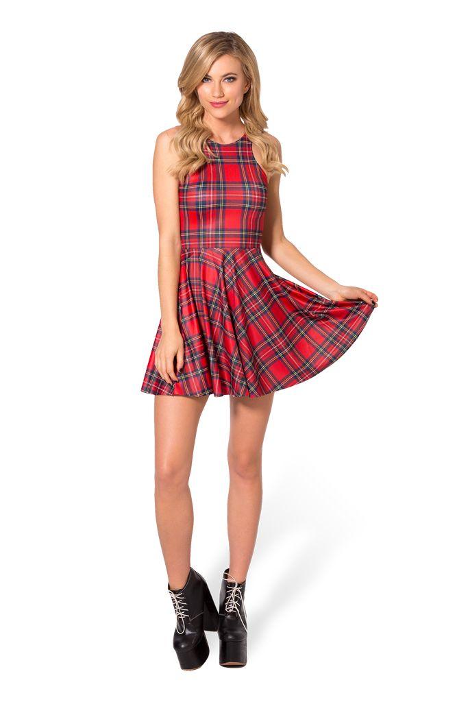 Tartan Red Reversible Skater Dress by Black Milk Clothing $85AUD