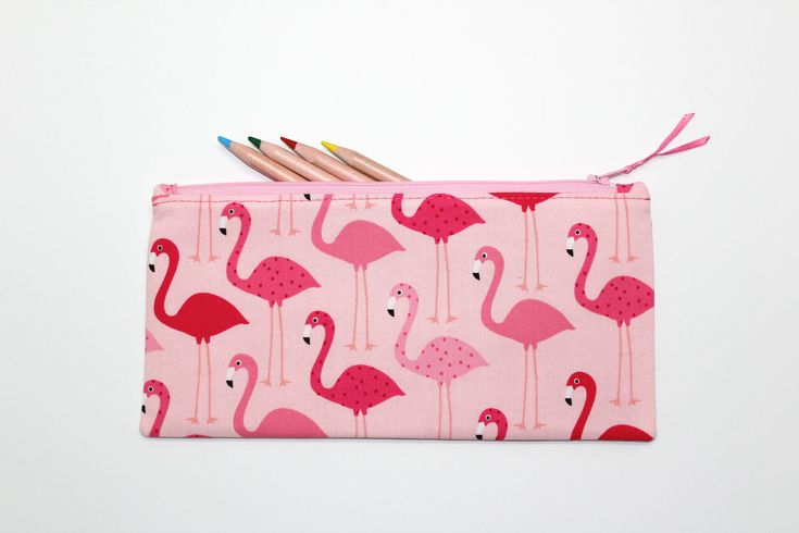 Flamingo Pencil Case, Pencil Pouch, Flamingo Gift, Makeup Bag, Cute School Supplies, Gifts Under 20 by LittleFoxSewsLots on Etsy