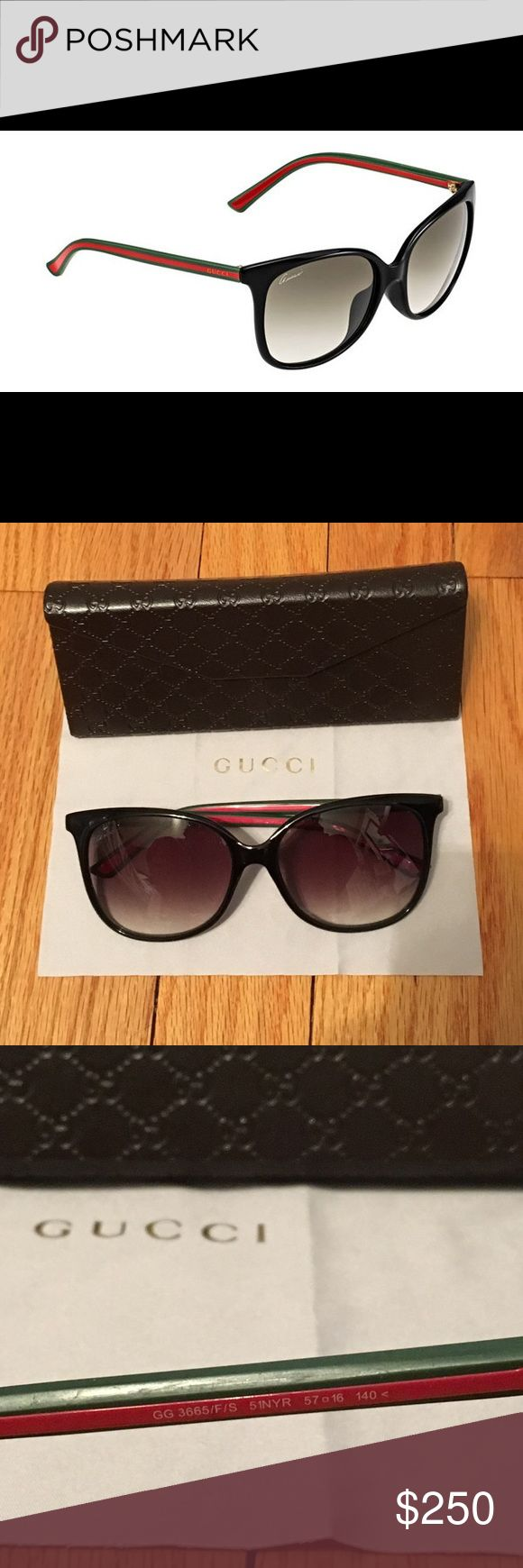 Authentic GUCCI Sunglasses Authentic Gucci GG 3665/F/S Asian Fit sunglasses. Black wayfarer shaped frame with signature green and red on the sides. Lense color is green gradient. They are in excellent condition aside some salt water residue on the lenses (pictured - it's just tiny speckles on the inside of the lenses that are not noticeable when wearing them) which happened when I wore them on vacation. Comes with original Gucci case and cleaning cloth. Gucci Accessories Sunglasses