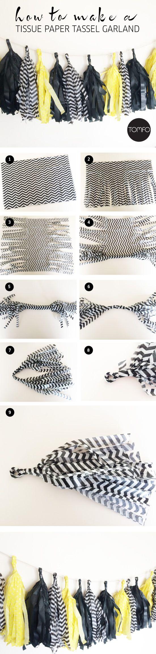É muito fácil de fazer esta guirlanda de pompom de papel de seda.