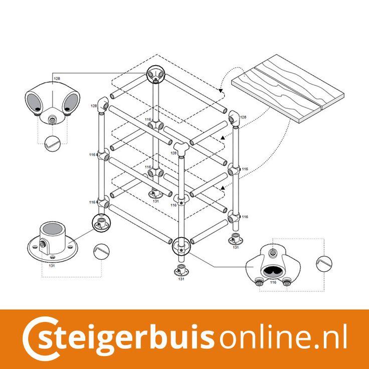Werktekening (DIY) - Tafeltje van steigerbuis