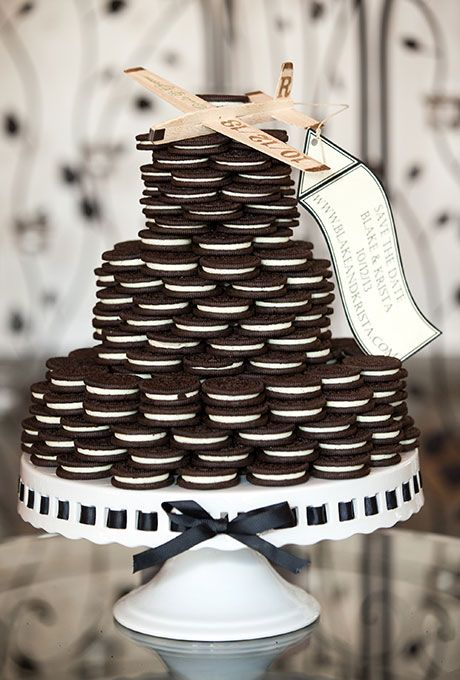 Brides.com: 31 Alternatives to the Classic Wedding Cake. A three-tiered stacked Oreo cookie wedding cake, created by Viewpoint Catering.