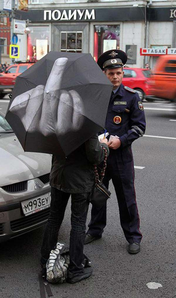 Fuck The Rain Umbrella by Art Lebedev Studio.: Laughing, Stuff, The Police, Fingers, Rain Umbrellas, Funny, Humor, Things, Products