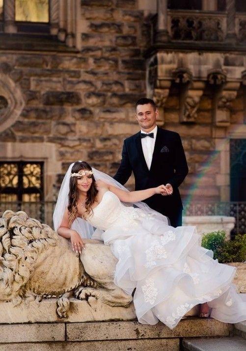 Suknie - Suknia ślubna projektantki Lillian West 38-40-42 biała - 2 000,00zł