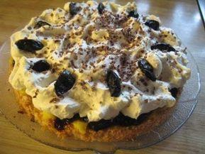 Dette er ei kake som eg kallar Sviskekake og har botn av kokos, eit lag eggekrem, eit lag med sviskekompott og krem på toppen. Kanskje ei ...