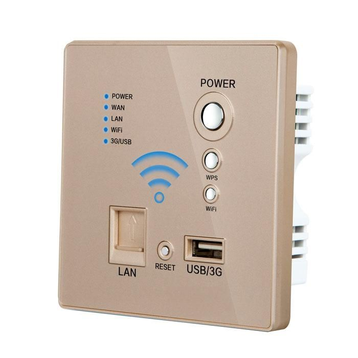 62.23$  Buy now - http://alindw.worldwells.pw/go.php?t=32612375963 - Free shipping WIFI USB Socket best price Champagne color  Wall Outlet Power Outlet internet socket 62.23$