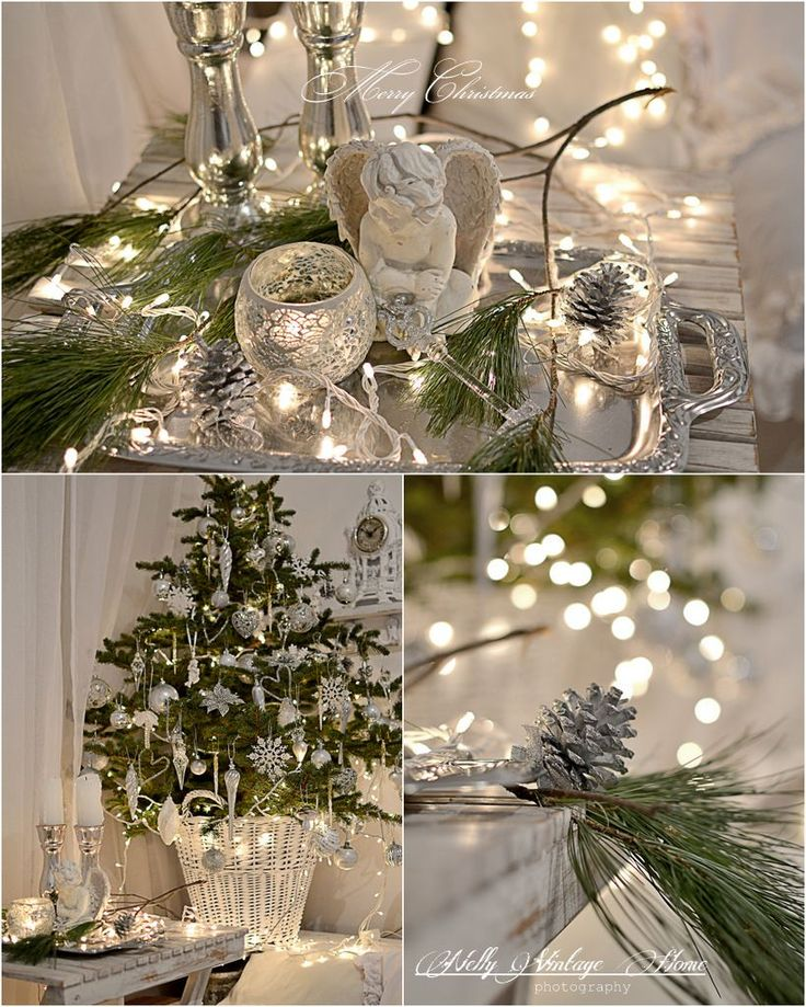 White, silver, white lights, evergreens - really classy combination - more on site - nelly vintage home: Вълшебна вечер