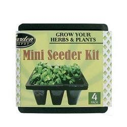 Mini Seeder Kit Case Pack 96 by DDI. $6.98. Grow fresh herbs and plants.. 5.50in x 5.50in (9) mini compartments. Set of Four!. Our greenhouse grow kit is an easy no mess way to start your own herbs and plants.. Just add soil, water and seeds.. Mini seeder kit is designed for fast herb propagation and growth.. Grow fresh herbs and plants from seeds with this miniature seeder kit.  A set of 4 black plastic containers that each have 9 chambers with bottom drainage for soil a...