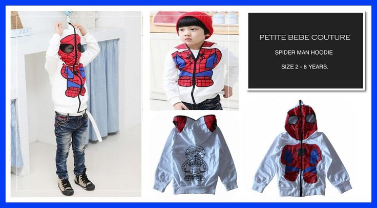 Spider Man Hoodie.   Available to order now: www.petitebebecouture.aradium.com