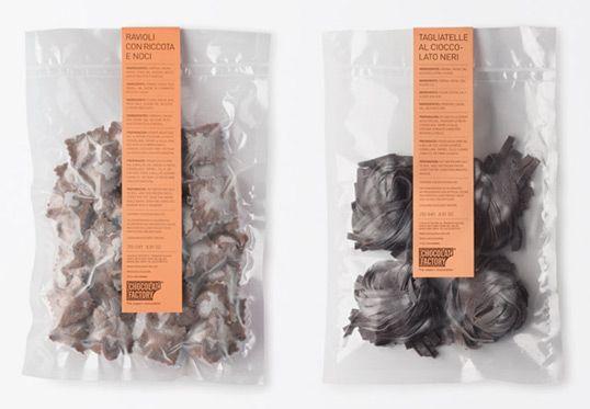 Chocolat facttory. pasta packaging.