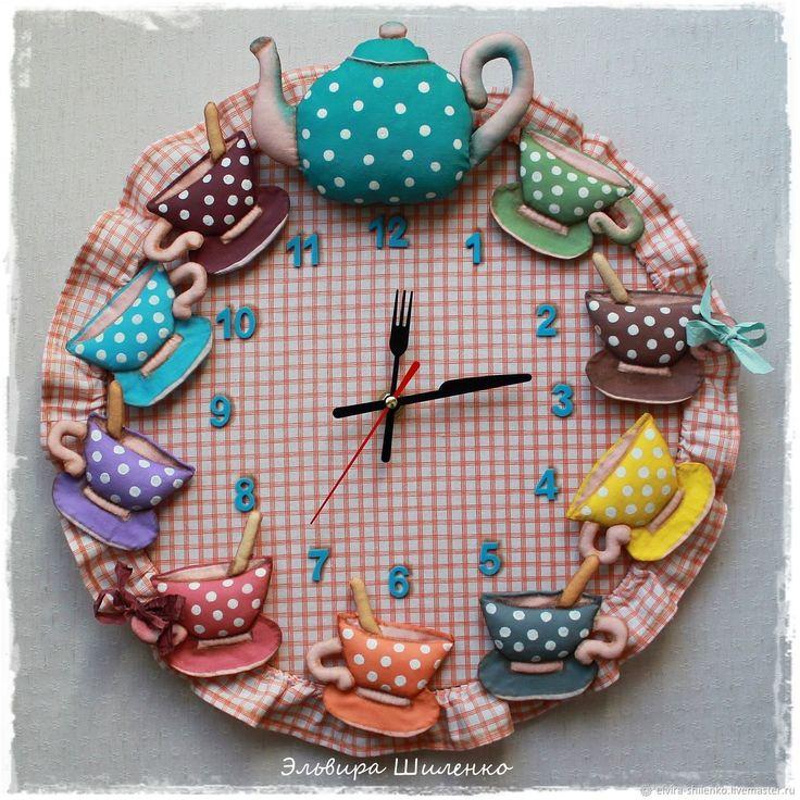 Купить настенные часы Чайный сервиз - розовый, часы, интерьер кухни, часы интерьерные
