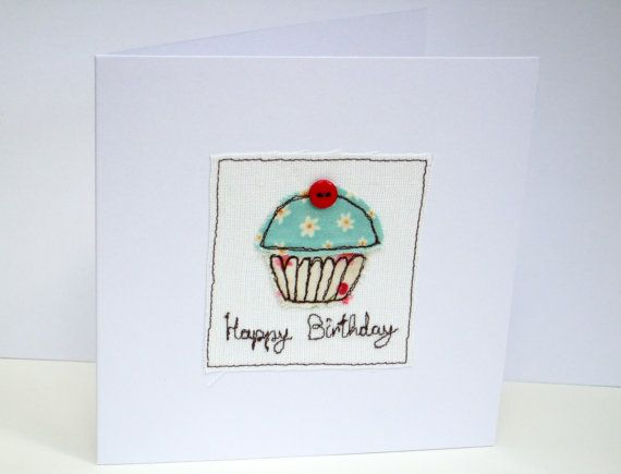Cupcake Birthday Card Machine Embroidered by Nikelcards on Etsy