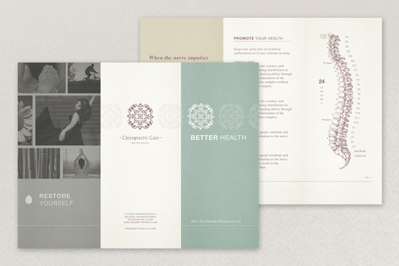 Chiropractic Practice Brochure: The gentle color palette and uplifting photos of this brochure are perfect for a chiropractic practice or other physical therapy-oriented business. The classic graphics provide an established, long-lasting image for a practice. #inkd #customize #healthcare