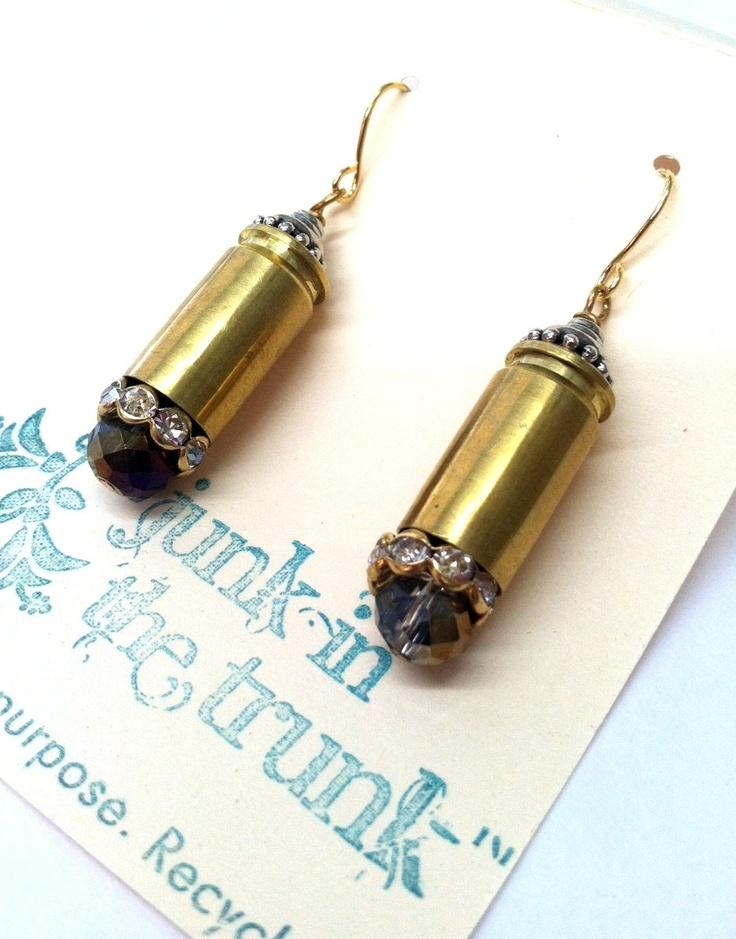 Bullet Casing Earrings / Upcycled Bullets / Bullet Jewelry /  Decommissioned Bullets / Bullet Earrings. $25.00, via Etsy.