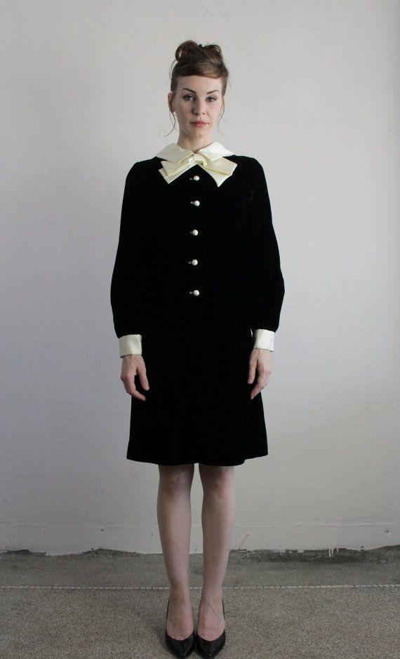 Vintage 60s Dress  Bow  Black Velvet   1960s by VeraVague.etsy.com