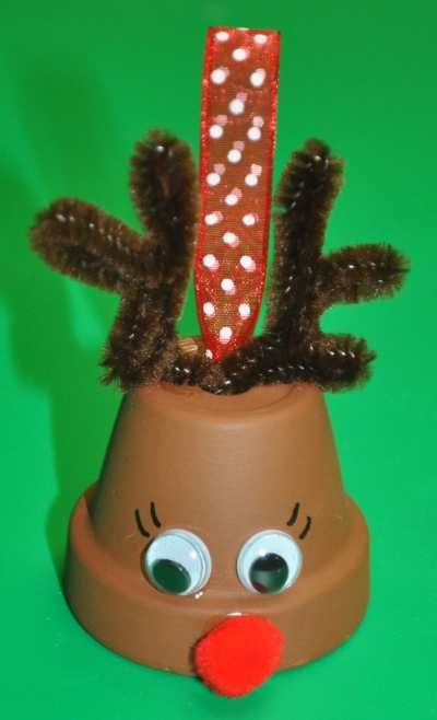 Dollar Store Crafts » Make a Flower Pot Reindeer Bell Ornament