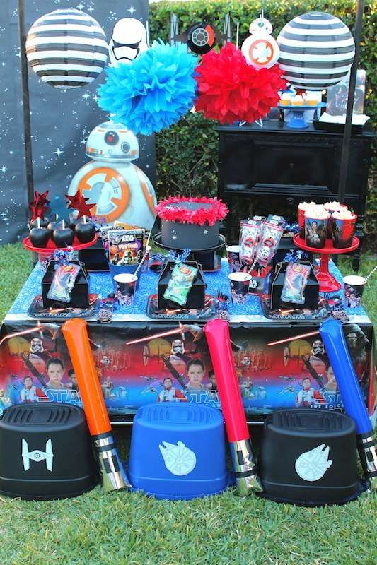 Party table at a Star Wars birthday party! See more party planning ideas at CatchMyParty.com!