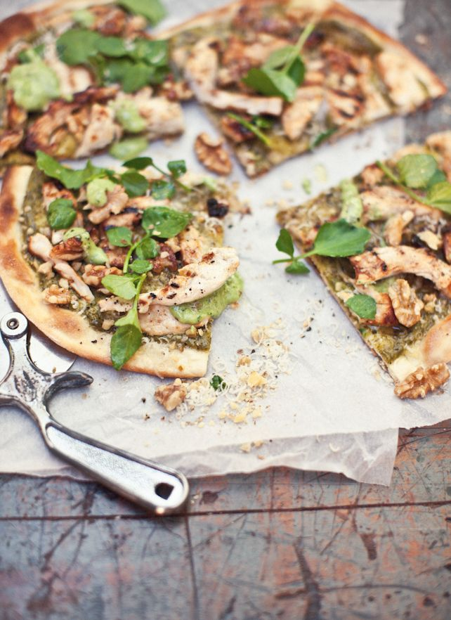 Buttermilk Chicken, Walnut, Tarragon and Watercress pizza