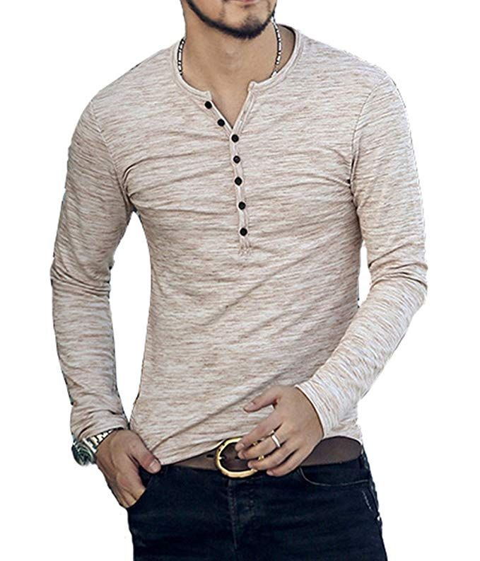 c8f429dbe254 CLANMILUMS Men's Casual Slim Fit Long Sleeve Henley T-Shirts Cotton Shirts
