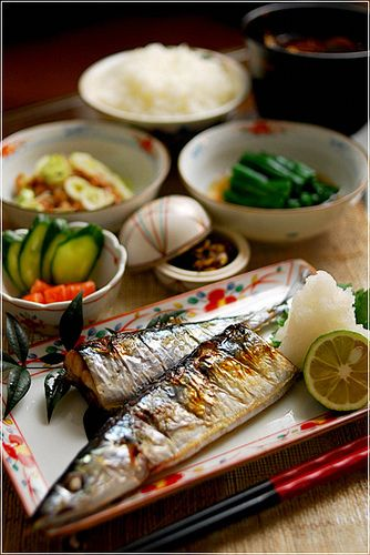 Japanese dinner saury set meal by 39‐39, via Flickr